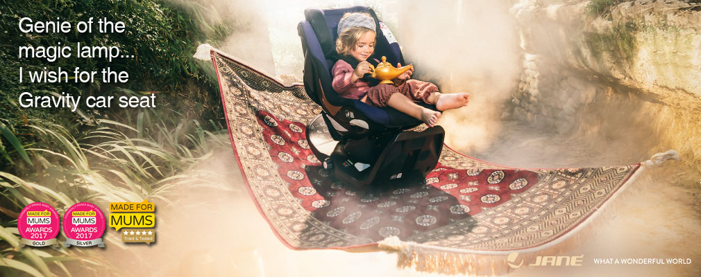 Jané Gravity, the award winning rotating i-Size child car seat