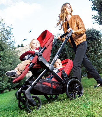 Twin tandem and double pushchairs
