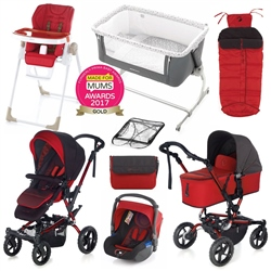 Jane Complete Nursery & Travel System Bundle, Red
