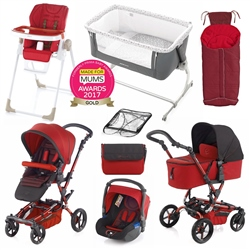 Jane Complete Nursery & Travel System Bundle, Epic Red