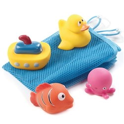 Set of bath toys and net