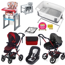 Jane Complete Nursery & Travel System Bundle, Red Black