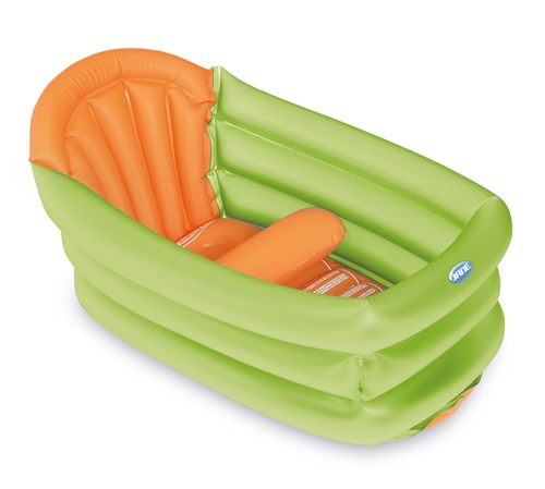 Deluxe Inflatable Baby Bath with 3 Positions (30L) - Blue & Orange