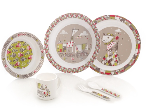 Microwave Crockery Set, 6 piece, Tangram  - Click to view larger image