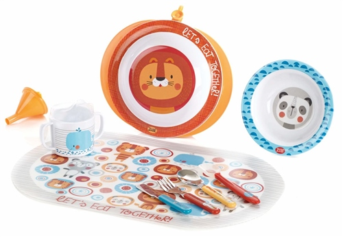 Jane 9 Piece Let's Eat Together Thermal Plate Feeding Set  - Click to view larger image