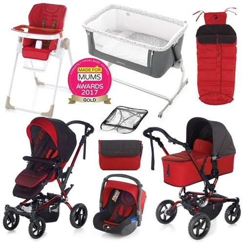 Complete Nursery & Travel System Bundle, Red
