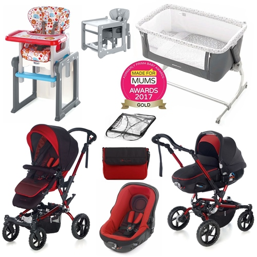 Jane Complete Nursery & Travel System Bundle, Red  - Click to view larger image