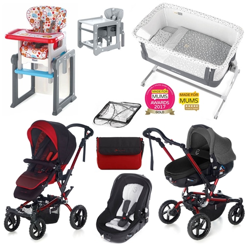 Complete Nursery & Travel System Bundle, Red Black  - Click to view larger image