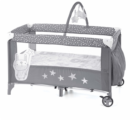Jane Duo Level Travel Cot & Toys, Stars base in lowest position - Click to view larger image
