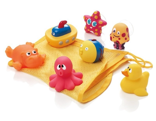 Set of bath toys & net  - Click to view larger image